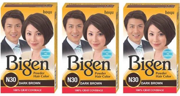 Bigen Long Lasting Powder Hair Colour For Men And Women - 6g Each - ( Combo Pack / Set Of 3 ) Ammonia Free Hair Color , DARK BROWN - N30