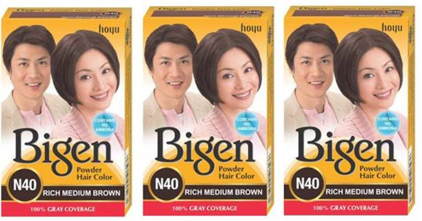Bigen Long Lasting Powder Hair Colour For Men And Women - 6g Each - ( Combo Pack / Set Of 3 ) Ammonia Free Hair Color , Rich Medium Brown - N40