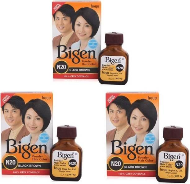 Bigen Long Lasting Powder Hair Colour For Men And Women - 6g Each - ( Combo Pack / Set Of 3 ) Ammonia Free Hair Color , BLACK BROWN - N20