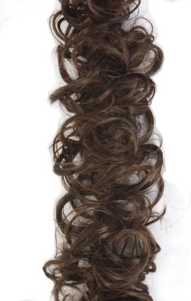 Ritzkart Funky Curly Elastic hair bun flexible 36 inch long brown frill multi purpose bride casual hair volume make use extension Hair Extension