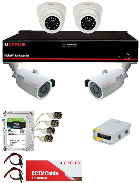 CP PLUS DVR & Camera with HDD, Cables, Power Supply, Pins, Audio Mic. Combo Pack - [Astra Full HD 4Ch Video 4Ch Audio DVR + 2 Dome + 2 Bullet Camera 2.4 MegaPixel Nightvision + Seagate SKYHAWK Hard Drive + Cable Box + Power Supply + UPV Brand - Audio PCB, BNC, DC & RC Pin Set] - Full CCTV Kit Security Camera