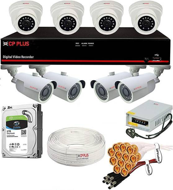 CP PLUS Full CCTV Combo Set Kit (8Ch DVR + 8Nos. 2.4 Megapixel Camera + 2TB Hard Disk Drive + 90Mtr Copper Cable Box + Power Supply + BNC Pins + DC Pins) Security Camera