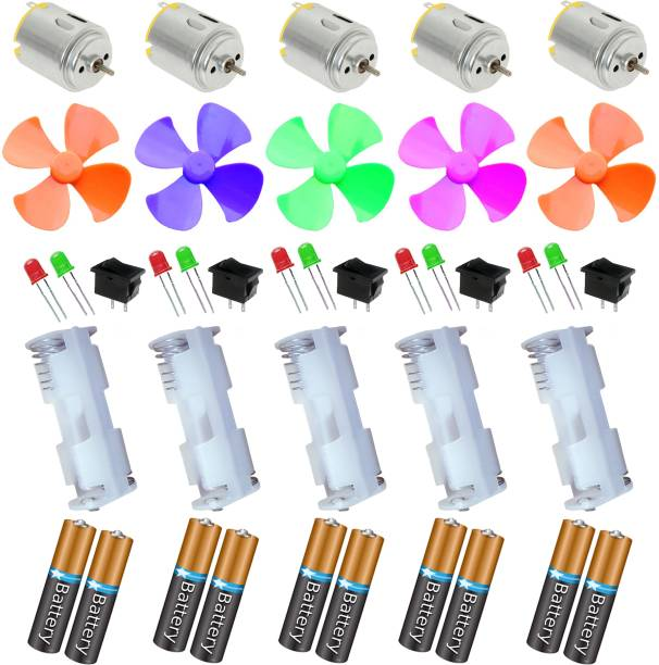 Kit4Curious DIY Science Projects Kit DC Motor, Fan, LED, Switch, AA cell and holder (5pcs each) with instruction manual