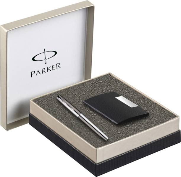 PARKER Frontier Stainless Steel Chrome Trim Fountain Pen with Card Holder Fountain Pen
