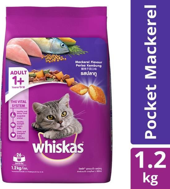 Whiskas Adult (+1 year) Mackeral 1.2 kg Dry Adult Cat Food
