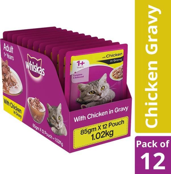 Whiskas Adult (+1 year) Chicken 1.02 kg (12x0.09 kg) Wet Adult Cat Food