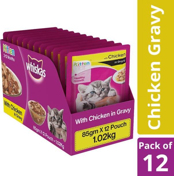 Whiskas Kitten (2-12 months) Chicken 1.02 kg (12x0.09 kg) Wet Young, New Born Cat Food