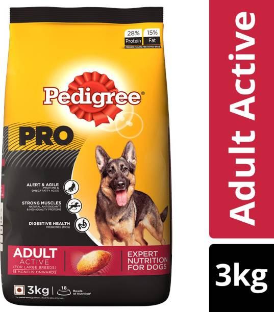 PEDIGREE PRO Expert Nutrition for Active Adult ( 18 Months Onwards ) 3 kg Dry Adult Dog Food