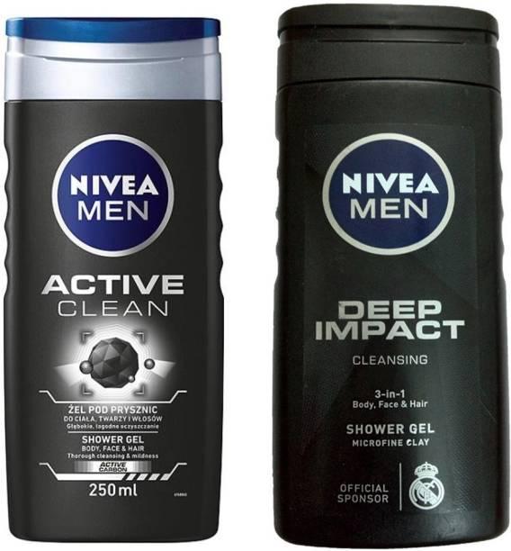 NIVEA MEN DEEP IMPACT CLEANING 3-IN SHWER GEL 250 ML + MEN ACTIVE CLEAN SHOWER GEL 250 ML