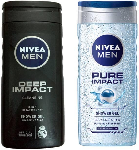 NIVEA MEN DEEP IMPACT CLEANING 3-IN SHWER GEL 250 ML +MEN PURE IMPACT SHOWER GEL 250 ML