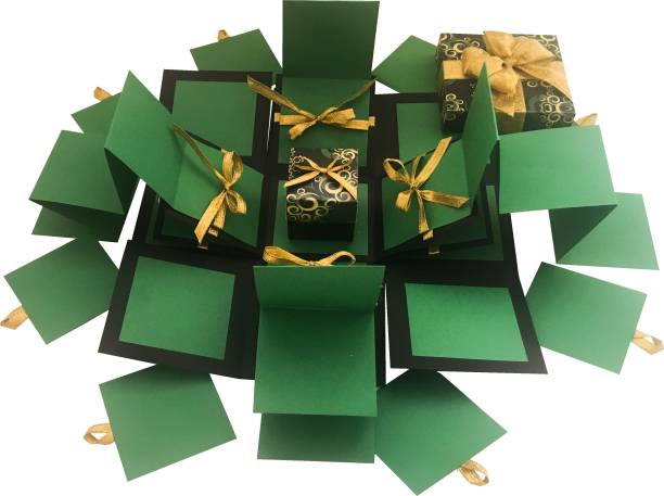 Crack Of Dawn Crafts 3 Layered Explosion Box Grand Green Greeting Card