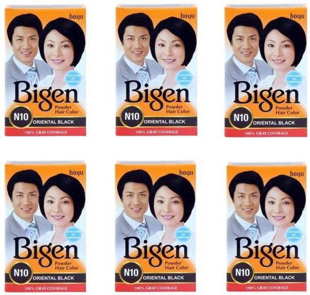 Bigen Long Lasting Powder Hair Colour For Men And Women - 6g Each - ( Combo Pack / Set Of 6 ) Ammonia Free Hair Color , ORIENTAL BLACK - N10