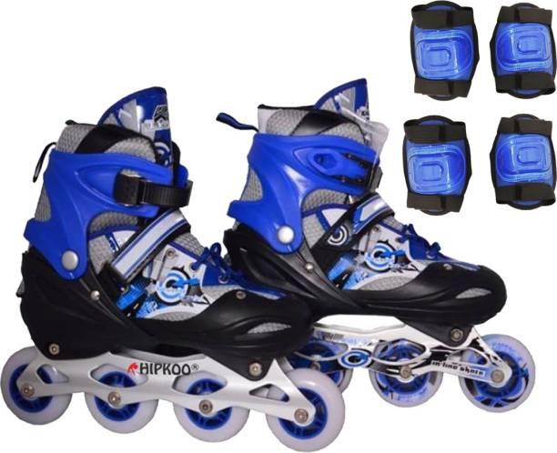 Hipkoo Adjustable Inline Skates (Size 39-42) Large With Protective Set  (Elbow 9f99da45bb