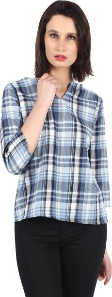 25b9e18b13c54 GC NAKSUM Casual 3 4th Sleeve Checkered Women s Blue Top