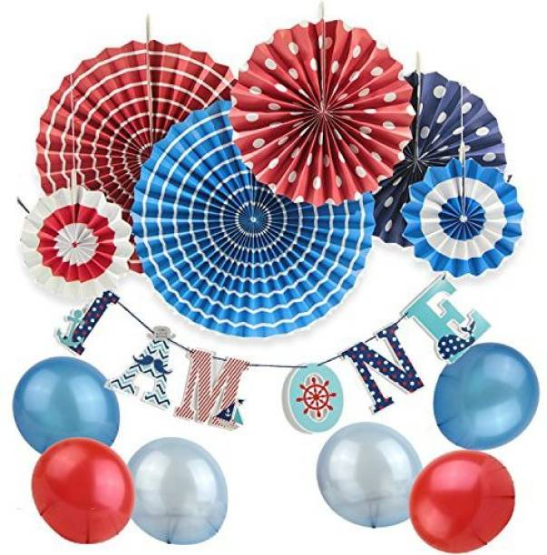 SUNBEAUTY Nautical 1St Birthday Party Decoration Kit Ahoy Baby Supplies For Boy Paper Fan I