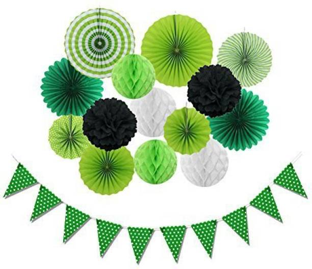 SUNBEAUTY Green Party Decorations Kit Paper Honeycomb Fans Dot Banner For Birthday Home Event Supplies Elegant