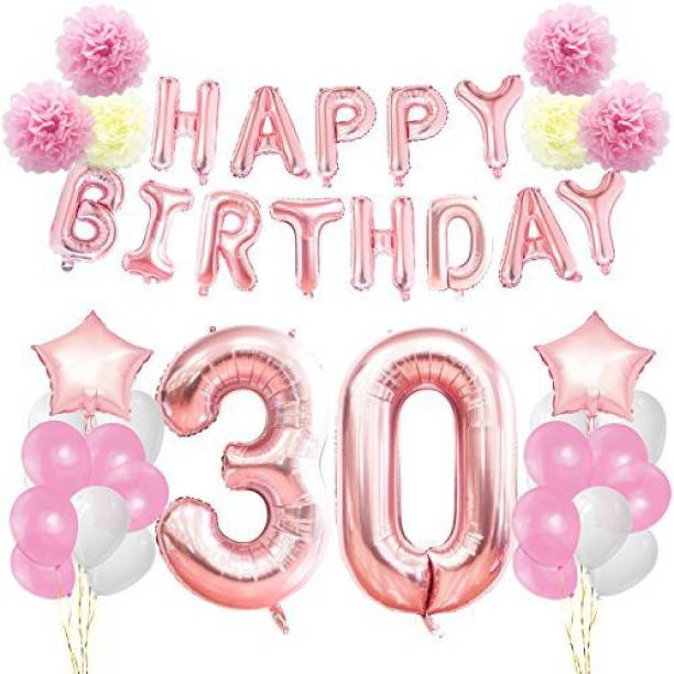 KUNGYO 30Th Birthday Decorations Kit Rose Gold Happy Banner Giant Number 30 And Star