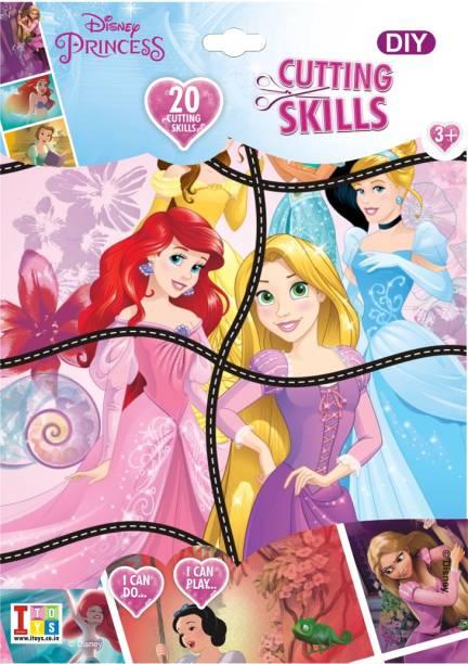 DISNEY Princess Cutting Puzzle DIY Set with Scissors for Kids