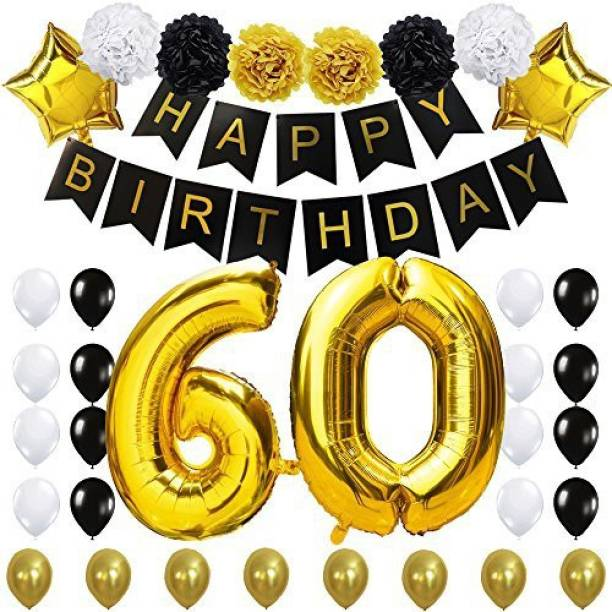 KUNGYO 60Th Birthday Party Decorations Kit Happy Black Banner 40Inch Gold