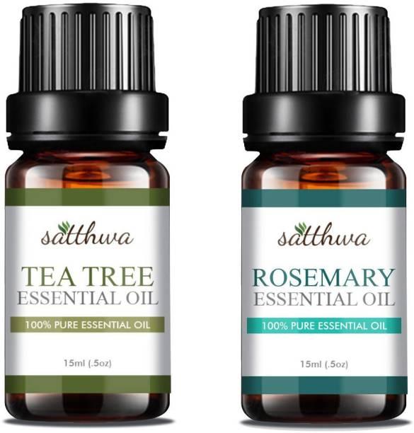 Satthwa Tea Tree Oil & Rosemary Essential Oil Combo