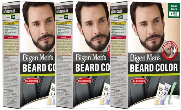 Bigen Men's Beard Colour ( 20g + 20g each ) | Combo Pack / Set Of 3 Ammonia Free Beard Hair Color , B102 - Brown Black