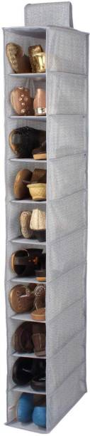 HomeStorie Non-Woven Cloth Hanging Storage Wardrobe Organizer, 10 Shelves, Grey Closet Organizer
