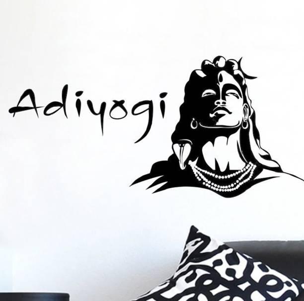 Pixel Print Medium Wall Sticker , Wall Art , Wallpaper , 'Lord Shiva And Adiyogi Religious' Multicolor Wall Sticker Size 92X48Cm
