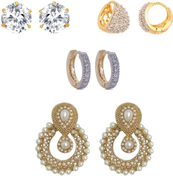e58928558 Jewels Capital Diva Style Cubic Zirconia, Pearl Alloy Stud Earring,  Chandbali Earring, Hoop