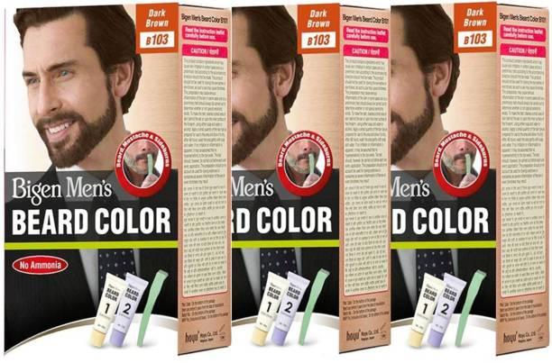 Bigen Men's Beard Colour ( 20g + 20g each ) | Combo Pack / Set Of 3 Ammonia Free Beard Hair Color , B103 - Dark Brown