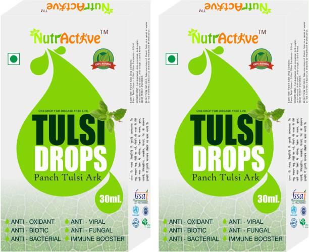 NutrActive Tulsi Drops (Panch Tulsi Ark) - 60ml | Natural Immunity Booster - Tulsi
