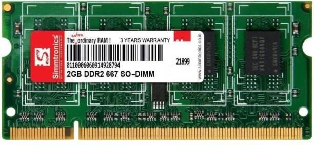 simtronics 667-5300 DDR2 2 GB (Single Channel) Laptop (Simmtronics 2 Gb Dddr-2 667 Mhz Pc 5300 For Laptop)