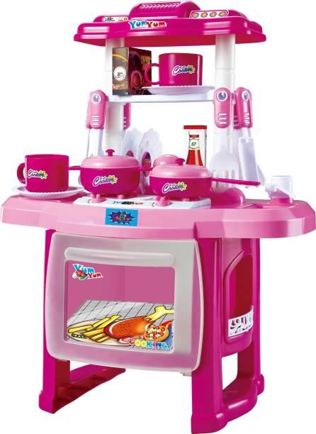 Webby Kids Kitchen set children Kitchen Toys Large Kitchen Cooking Simulation Model Play (Pink)