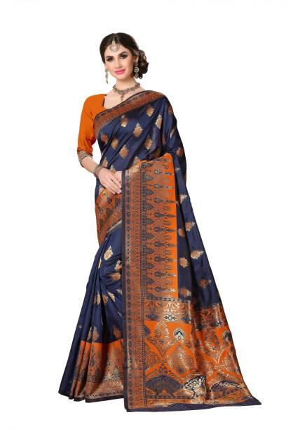 Sanku Fashion Self Design, Embroidered, Woven Ikkat Cotton Blend, Art Silk Saree