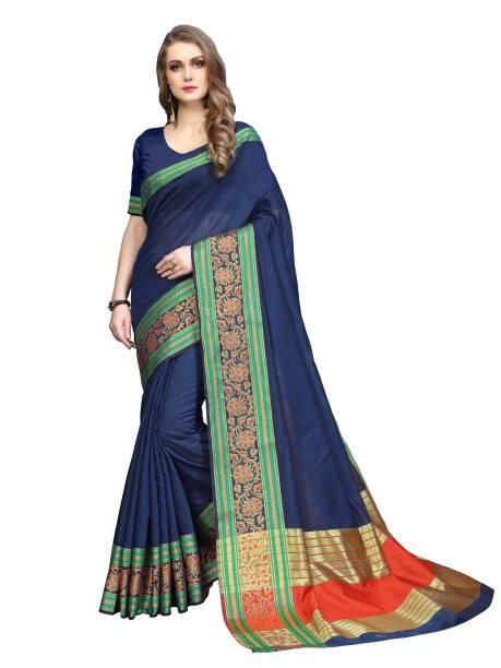 Sanku Fashion Embellished, Woven, Solid Kanjivaram Cotton Blend, Art Silk Saree