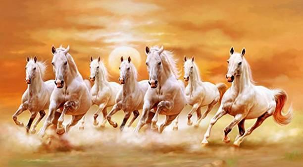 Pixel Print Medium Wall Sticker Vastu Seven Running Horse Poster