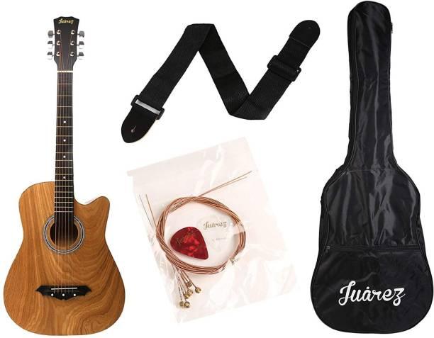 Juarez JRZ38C/ASH Acoustic Guitar Ash, 38 Inch Cutaway, Right Handed Acoustic Guitar Linden Wood Ebony Right Hand Orientation