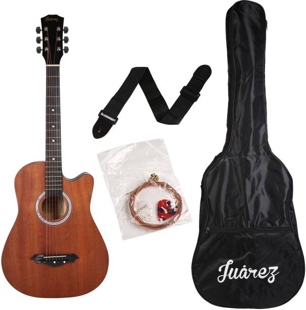 Juarez JRZ38C/MAH Acoustic Guitar Mahogany, 38 Inch Cutaway, Right Handed Linden Wood Acoustic Guitar