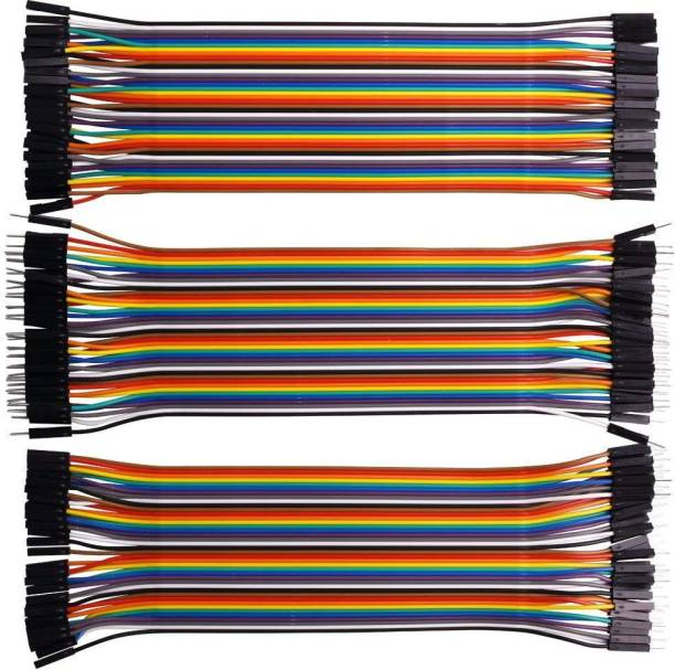 DIY 120 Pieces Jumper Wire Set 40 M-M + 40 M-F + 40 F-F Wires (Multicolor)