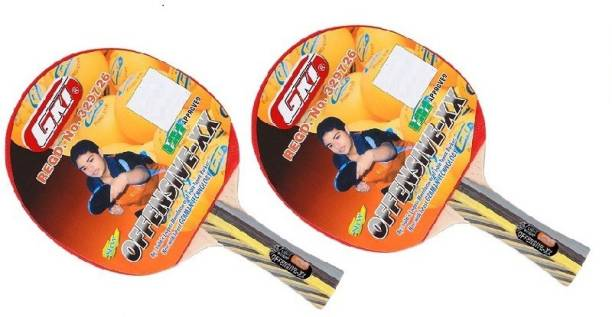 GKI 'Offensive XX' (Pack of 2) (Color On Availability)- Multicolor Table Tennis Racquet