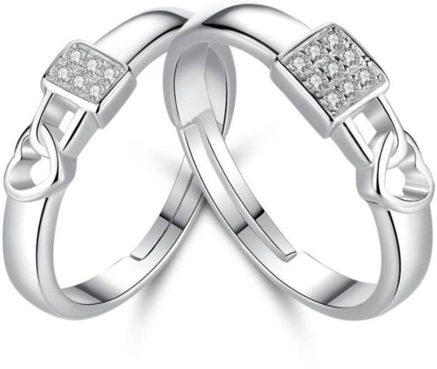 94b5122b4d45ba MYKI Love Lock Sterling Silver Swarovski Zirconia Adjustable Couple Rings  Sterling Silver Swarovski Zirconia 24K White