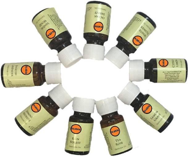 ICABLE Rain Forest, Lavender, Tea Rose, Sandal Wood, White Flower, Ocean Breeze, Jasmine, Lemon Grass, Citrus Limon Aroma Oil