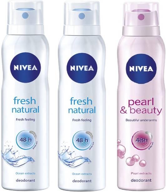 3e203e2f05e Nivea Fresh Natural & Pearl & Beauty Deodorant Combo - Pack of 3 Body Spray  -