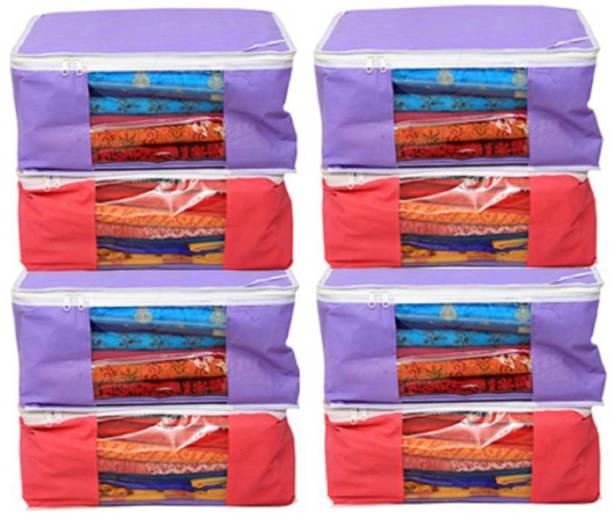 19e62cc8ac FUNKROO High qulity saree cover Designer Non woven Saree cover Bag Set of 8  Pcs