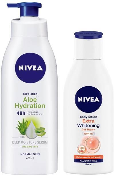 NIVEA Aloe Body Lotion 400 ml & Extra Whitening SPF 15 lotion 120 ml combo