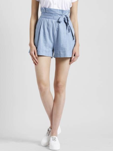 9355497e98785 Zink London Striped Women Denim Light Blue Culotte Shorts