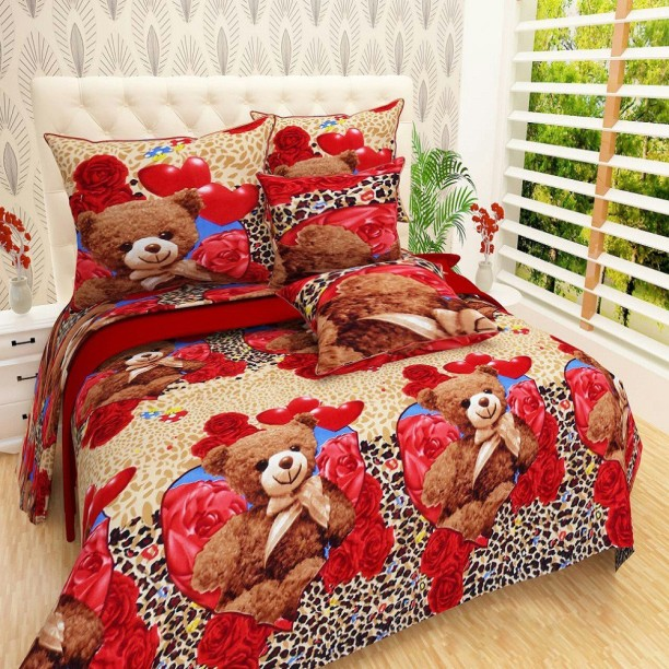 Great Home Pictures 144 TC Microfiber Double 3D Printed Bedsheet