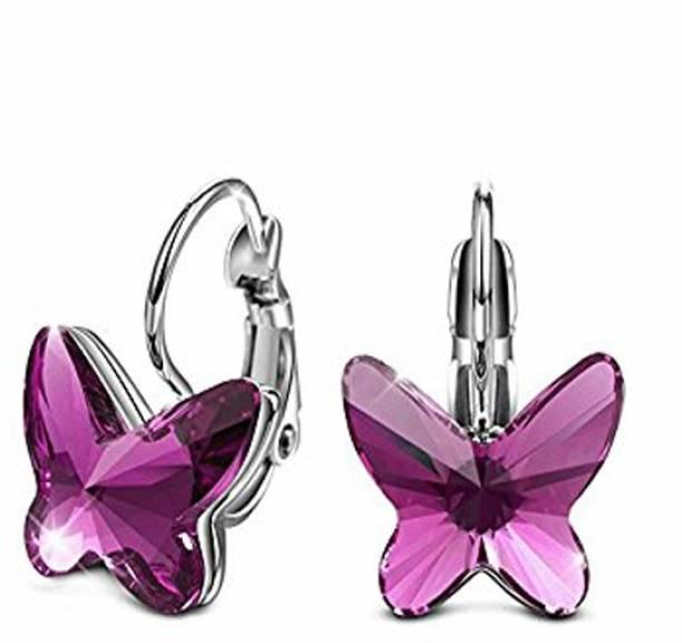 1da06e9ef6 Yellow Chimes Hoop Style Butterfly Swarovski Crystal Alloy Clip-on Earring