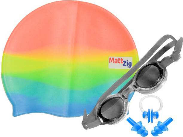 MATTZIG ACE (One Cap + One Goggle + Ear Plug + Nose Clip) Swimming Kit