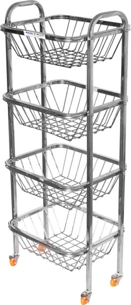 LiMETRO 4 Step Fruit And Vegetable Rack Stainless Steel Kitchen Trolley