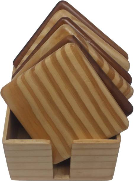 Crimson Knot Square Wood Coaster Set